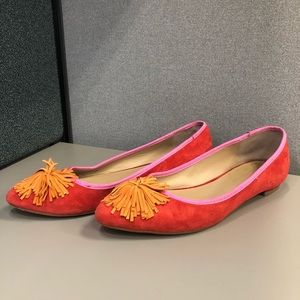 Women's Anthropologie Orange and Pink Suede Flats